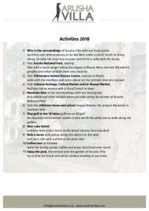 thumbnail of Activities Arusha Villa 2018 website