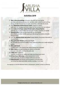 thumbnail of Activities Arusha Villa 2019 website